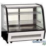 Eladó új, hajlított üvegű hűtött bemutatóvitrin, ledes világítással. 100L-es  129.000+áfa