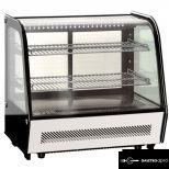 Eladó új, hajlított üvegű hűtött bemutatóvitrin, ledes világítással 100L-es  139000+áfa