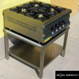 új inox ipari 4 égős asztali gáztüzhely egyforma 6kw-os égökkel