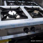 új inox 2 égős asztali gáztüzhely főzőtüzhely 6kw-os égőkkel