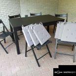 ELADÓ újszerű asztal 8 db székkel !