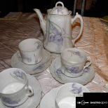 Antik 4 személyes teás porcelán készlet