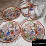 Antik eredeti, kézzel festett kínai teáskészlet