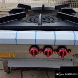 új inox fóliás ipari nagy konyhai 3 égős őrlángos 25 kw-os gázzsámoly főzőzsámoly garanciával!