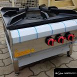 új inox ipari nagy konyhai 3 égős őrlángos 25 kw-os gázzsámoly főzőzsámoly garanciával!