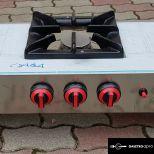 új inox ipari nagy konyhai 3 égős gáztűzhely főzőtűzhely 6kw-os égőkkel garanciával