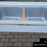 ÚJ inox fóliás 2 medencés ipari nagy konyhai mosogató 50x50x30cm-es medencékkel