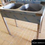 ÚJ inox fóliás 2 medencés ipari nagy konyhai mosogató 40x40x25cm-es medencékkel