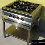 új inox 75-ös széria ipari nagy konyhai 4 égős asztali gáztűzhely egyforma 7 kw-os égőkkel