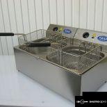 új inox ipari nagy konyhai 12+12 literes olajsütő fritőz hőkioldoval CE papirokkal garanciával