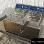 új inox ipari nagy konyhai 8+8 literes olajsütő fritőz hőkioldóval CE papirokkal garanciával