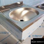 új inox fóliás ipari nagy konyhai kézmosó mosdó mosogató