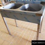 ÚJ inox fóliás 2 medencés ipari nagy konyhai mosogató 40x40x30cm-es medencékkel