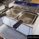 új inox ipari 8+8 literes olajsütő fritőz hőkioldóval CE papirokkal garanciával